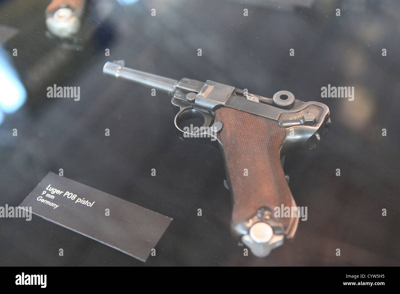 Famous German Luger P08 piston in The Flying Heritage Collection museum at Boeing factory in Everett, Washington, - Stock Image