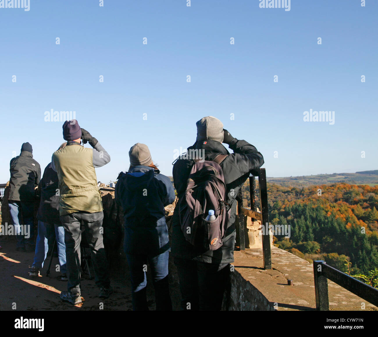 Visitors at Symonds Yat Rock viewpoint Forest of Dean Gloucestershire England UK - Stock Image