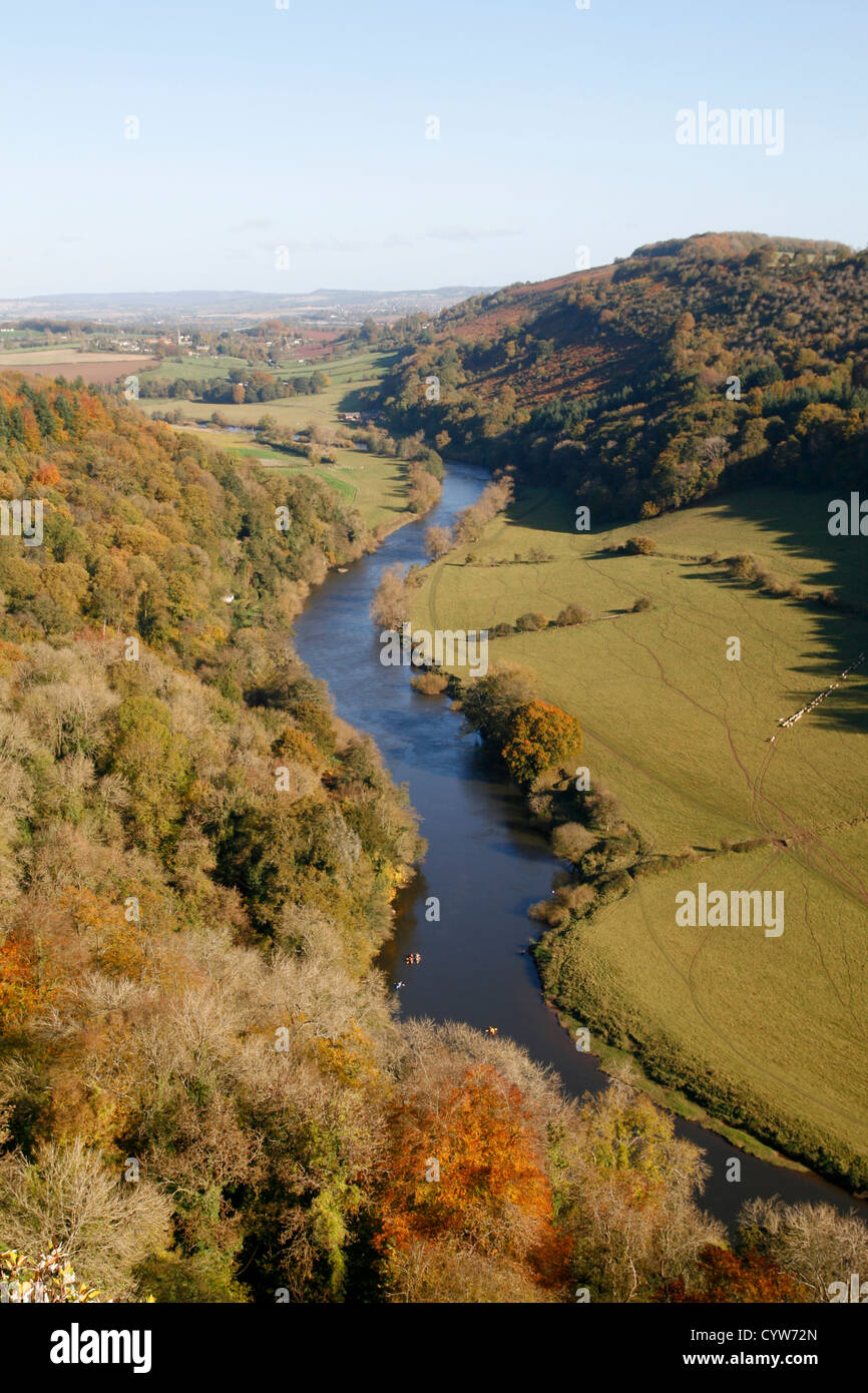 View from Symonds Yat Rock to Wye Valley Forest of Dean Gloucesrtershire England UK - Stock Image