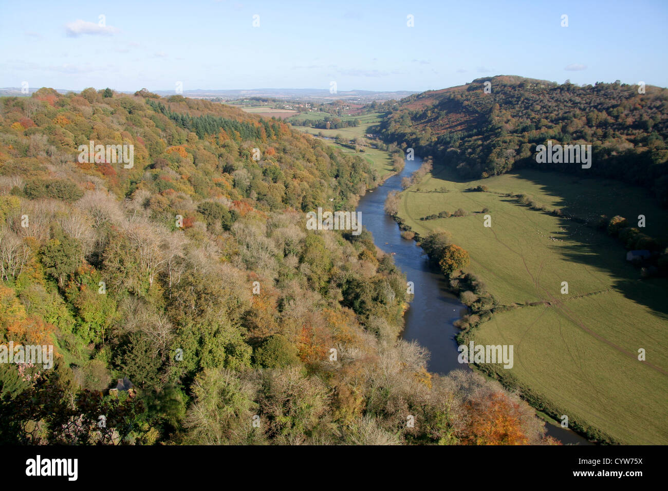 Autumn Symonds Yat Rock view to River Wye Gloucestershire England UK - Stock Image