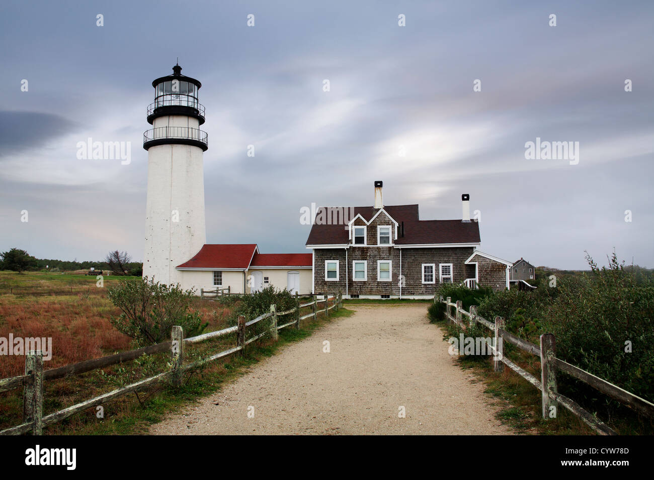 The Cape Cod Highland Lighthouse On A Very Windy And Cold Autumn Morning, Part Of The Cape Cod National Seashore, - Stock Image