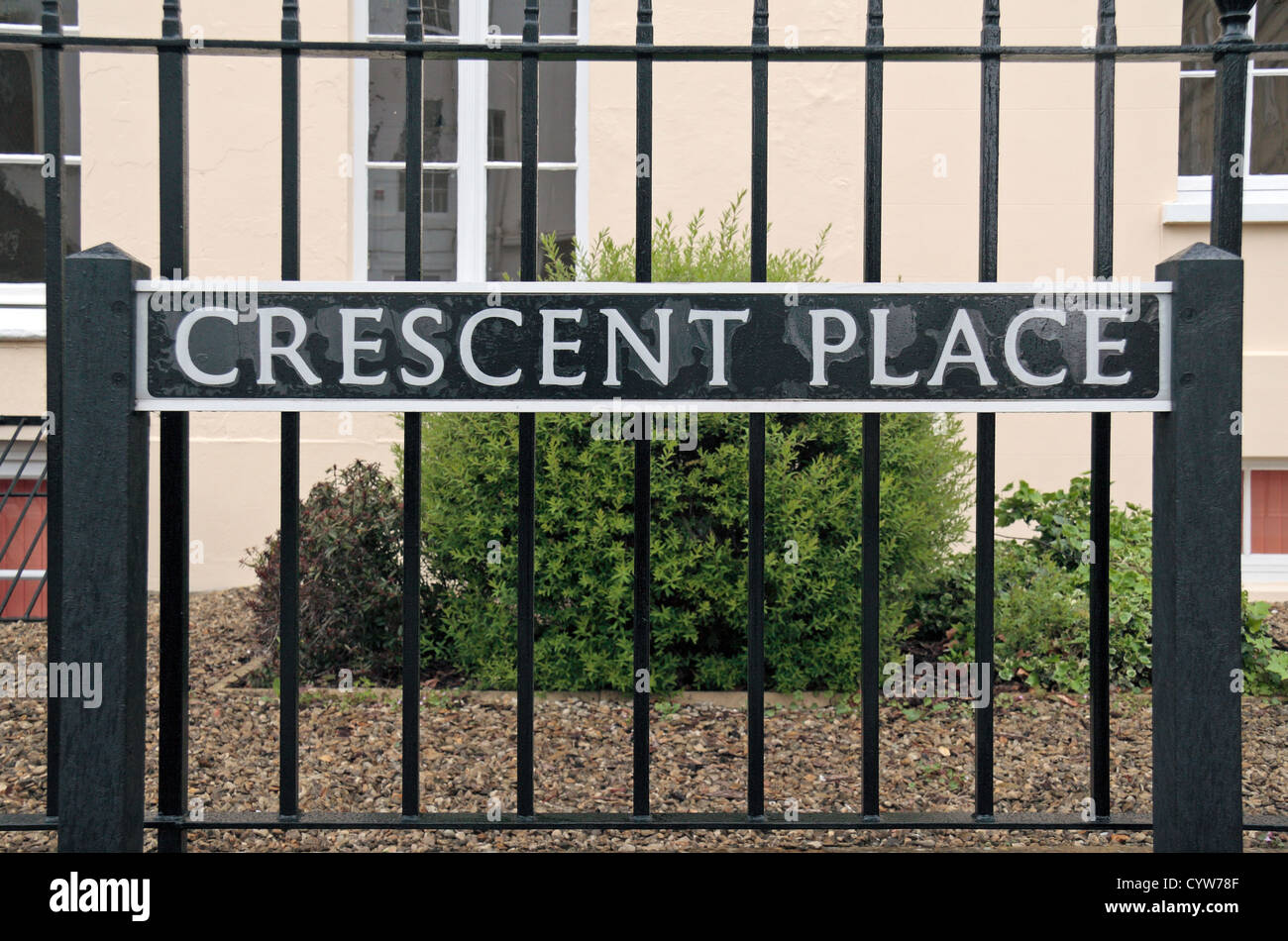Road sign for Crescent Place in Cheltenham, Gloucestershire, England. - Stock Image