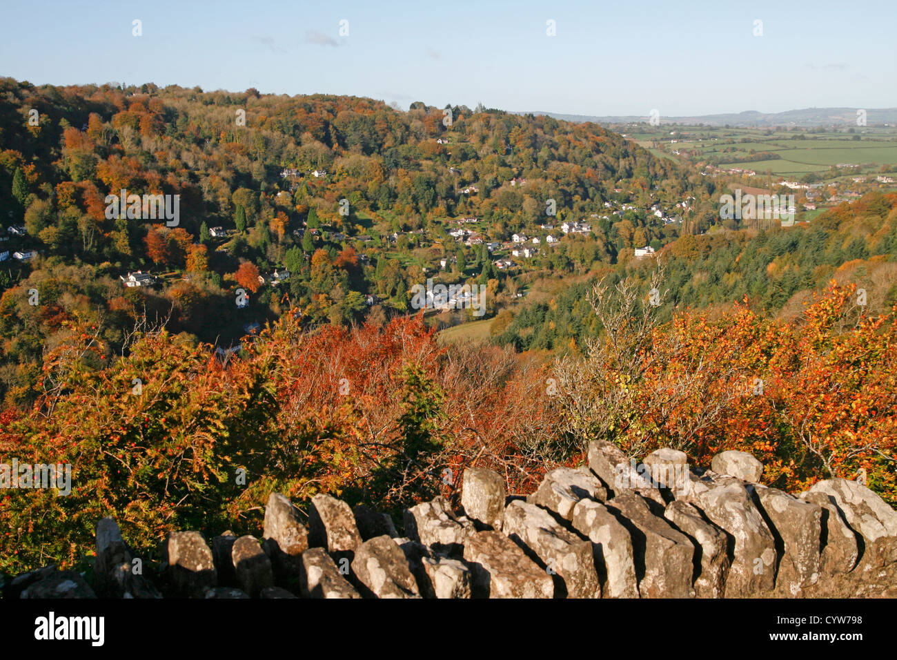 View from Yat Rock to Symonds Yat West Forest of Dean Gloucesrtershire England UK - Stock Image