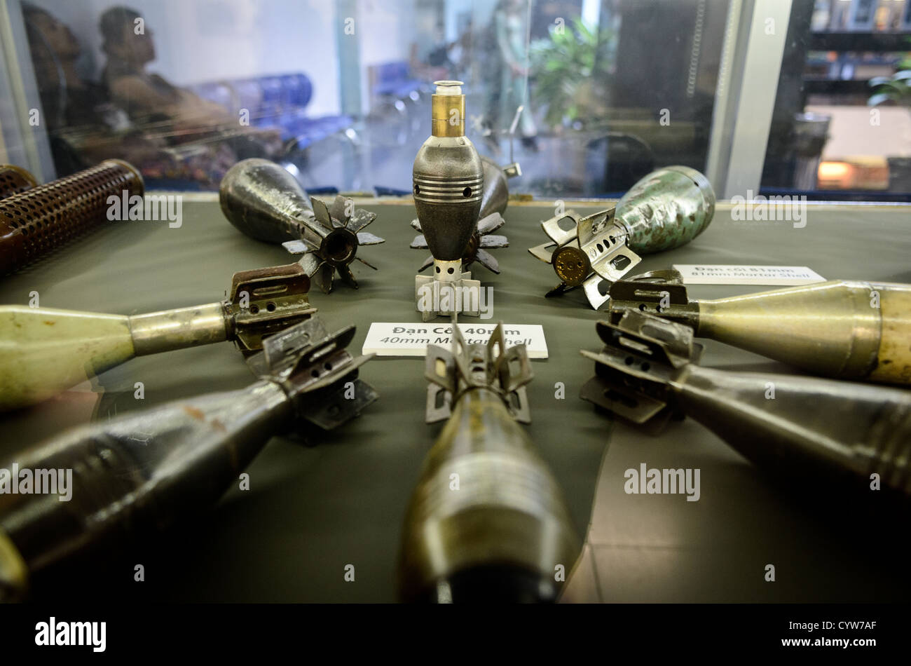 HO CHI MINH CITY, Vietnam - A collection of shells and weapons from the Vietnam War on display at the War Remnants - Stock Image