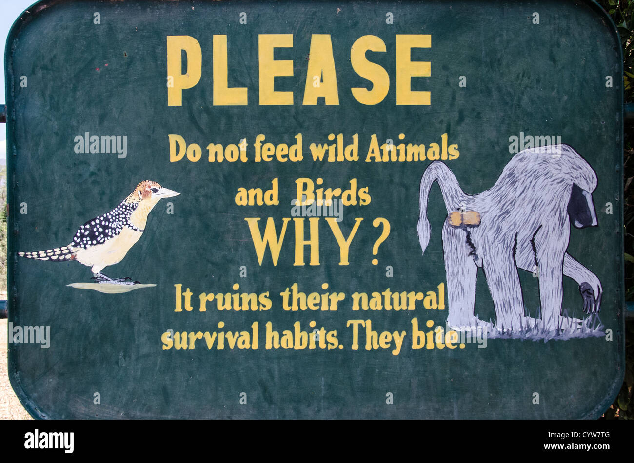 LAKE MANYARA NATIONAL PARK, Tanzania - A warning sign asking visitors not to feed the animals at Lake Manyara National - Stock Image
