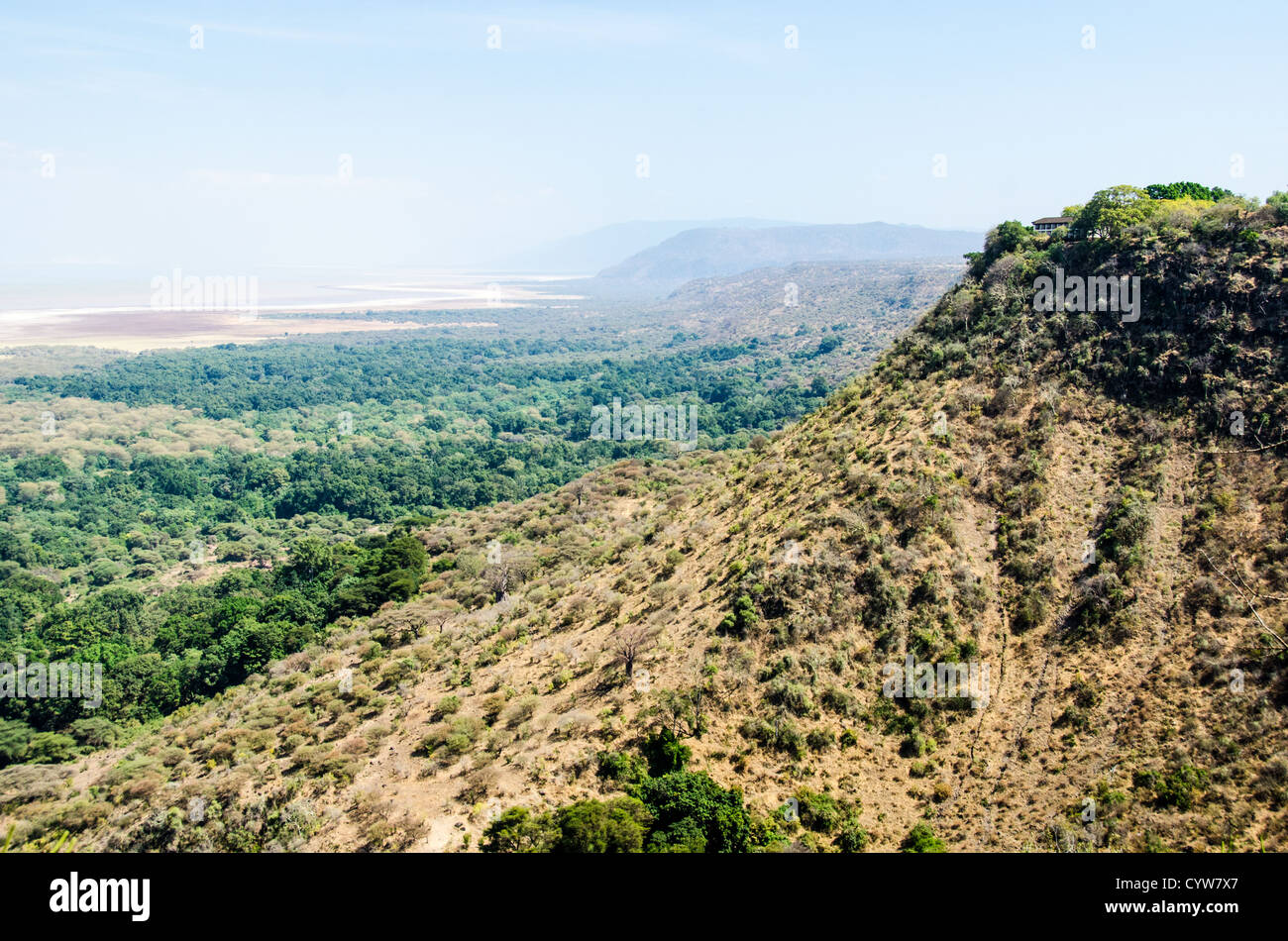 LAKE MANYARA NATIONAL PARK, Tanzania - A view out over Lake Manyara National Park from an elevated point just outside - Stock Image