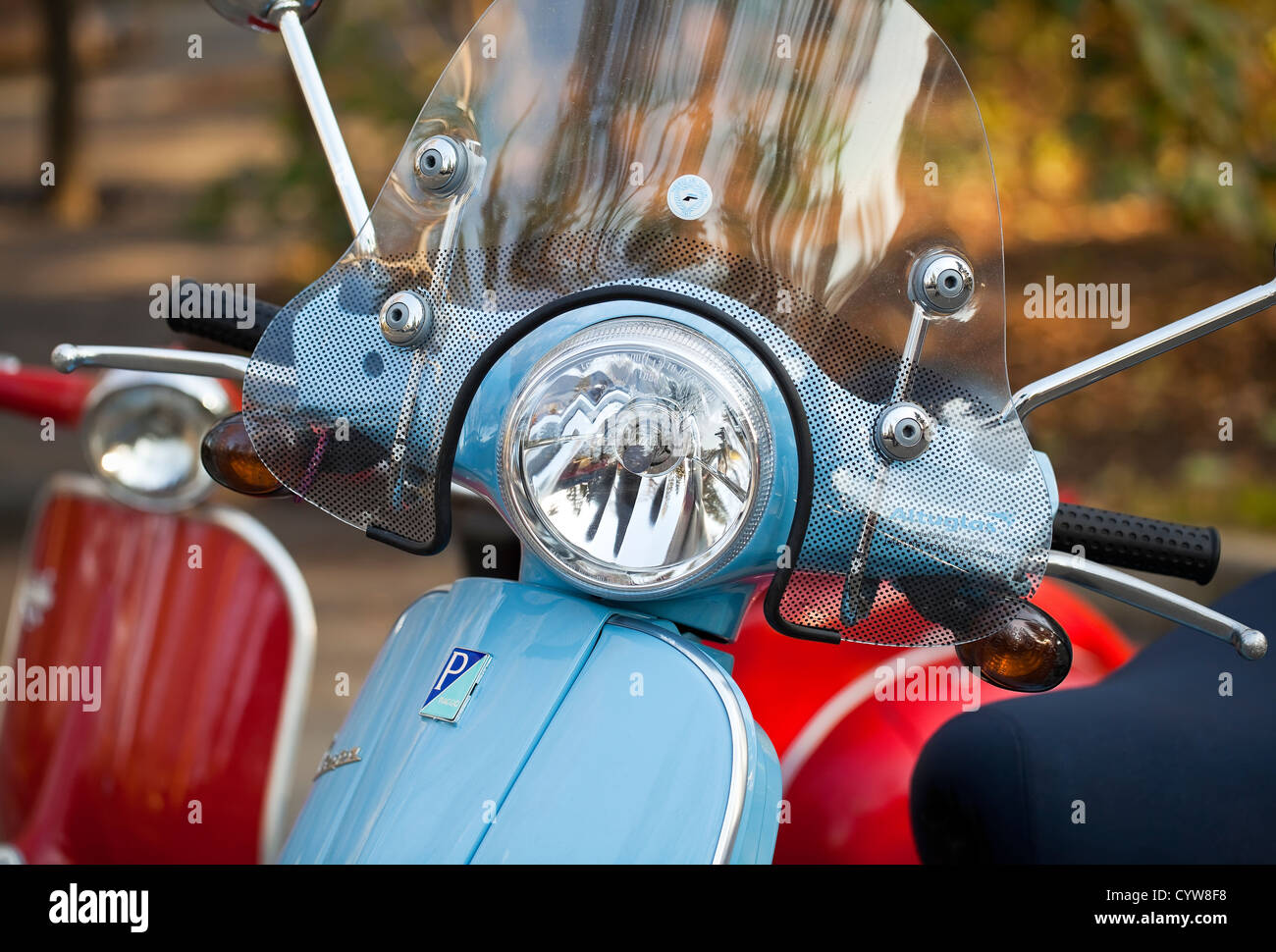 Vespa scooters, close up - Stock Image