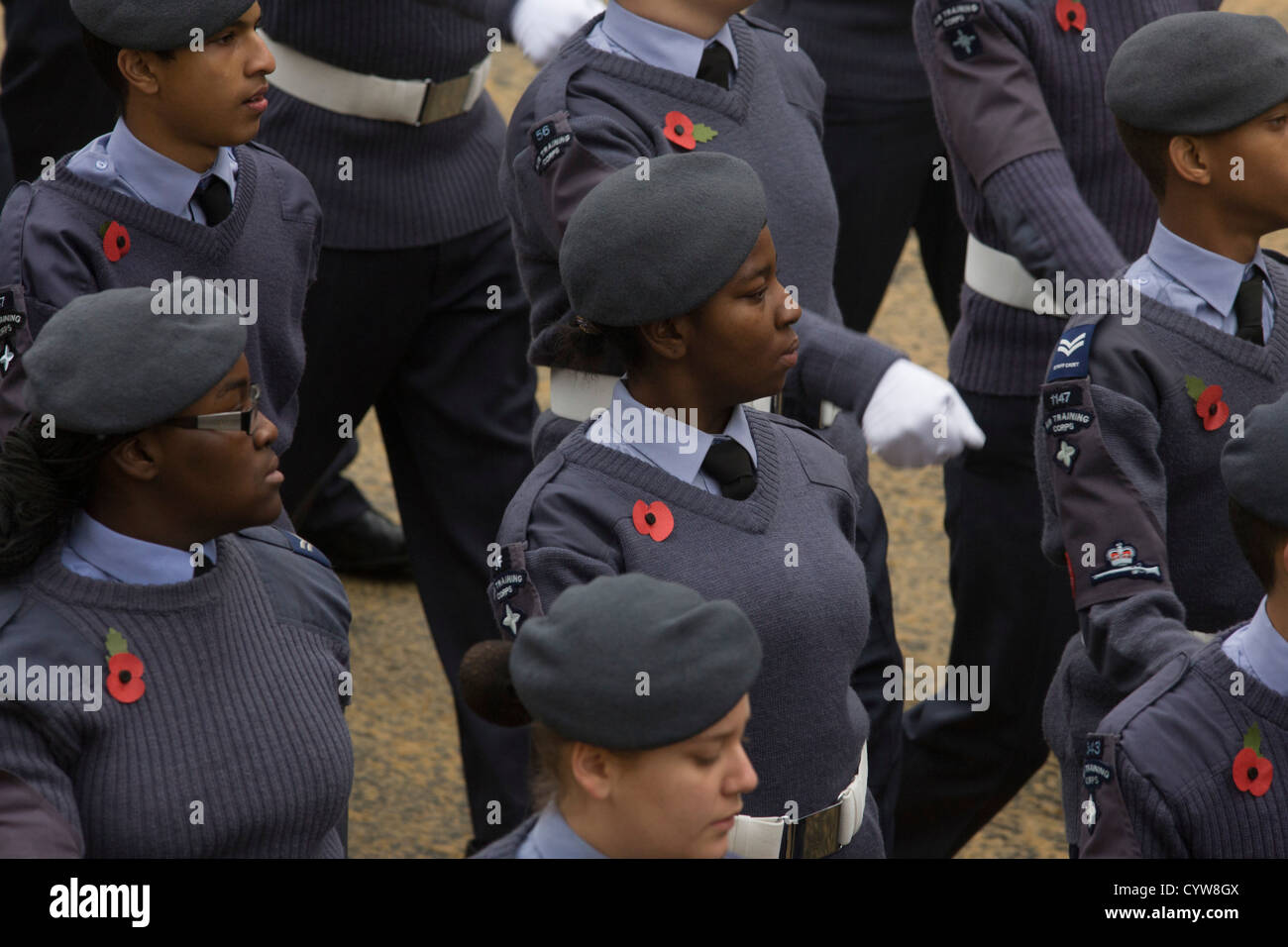 Young people with the Royal Air Force's Air Training Corps (ATC) parade wearing poppies during the annual Lord - Stock Image