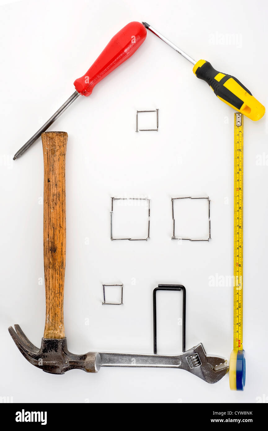 House built from tool set - Stock Image