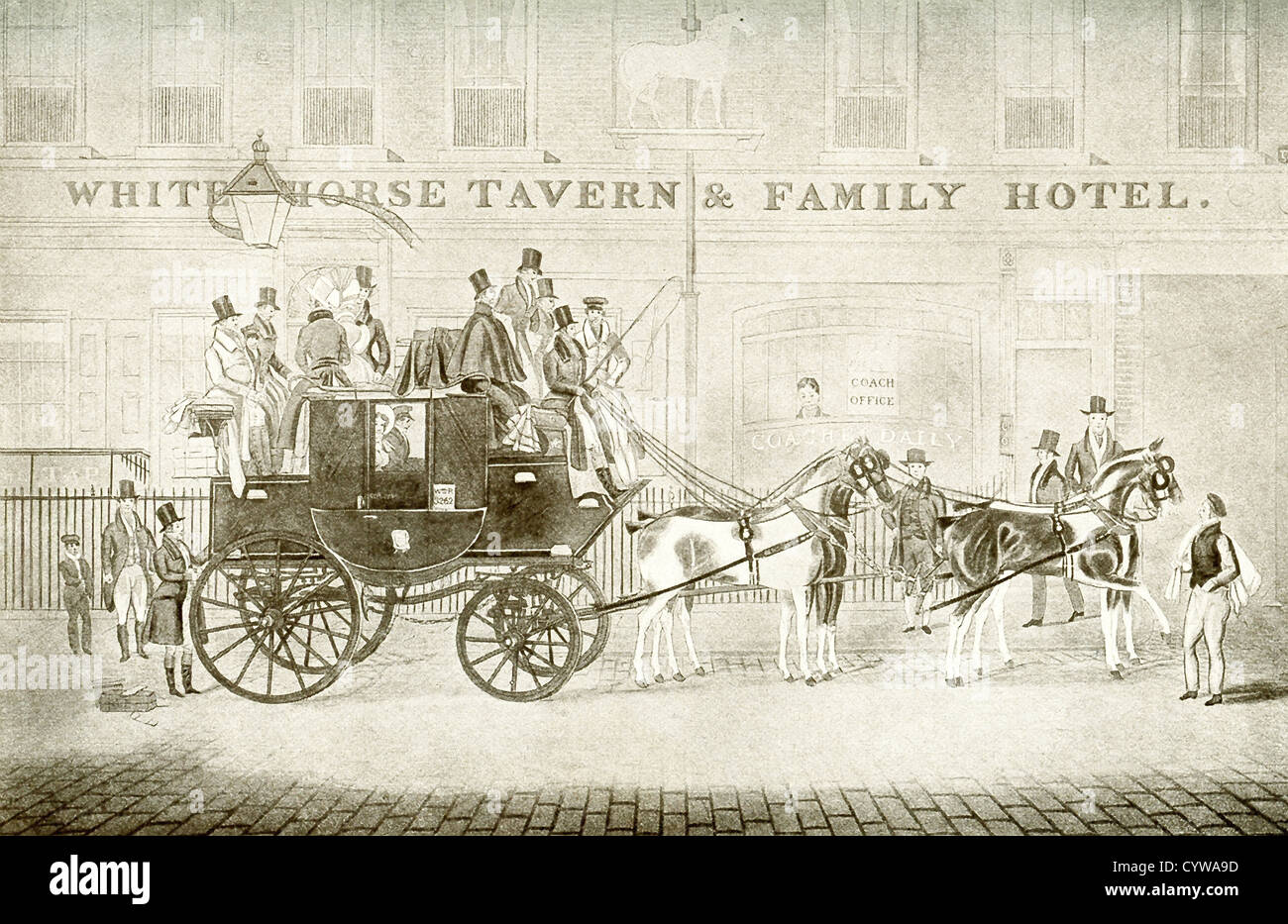 The Cambridge Telegraph Mail, and also Passenger, Coach at the White Horse Tavern and Family Hotel on Fetter Lane - Stock Image