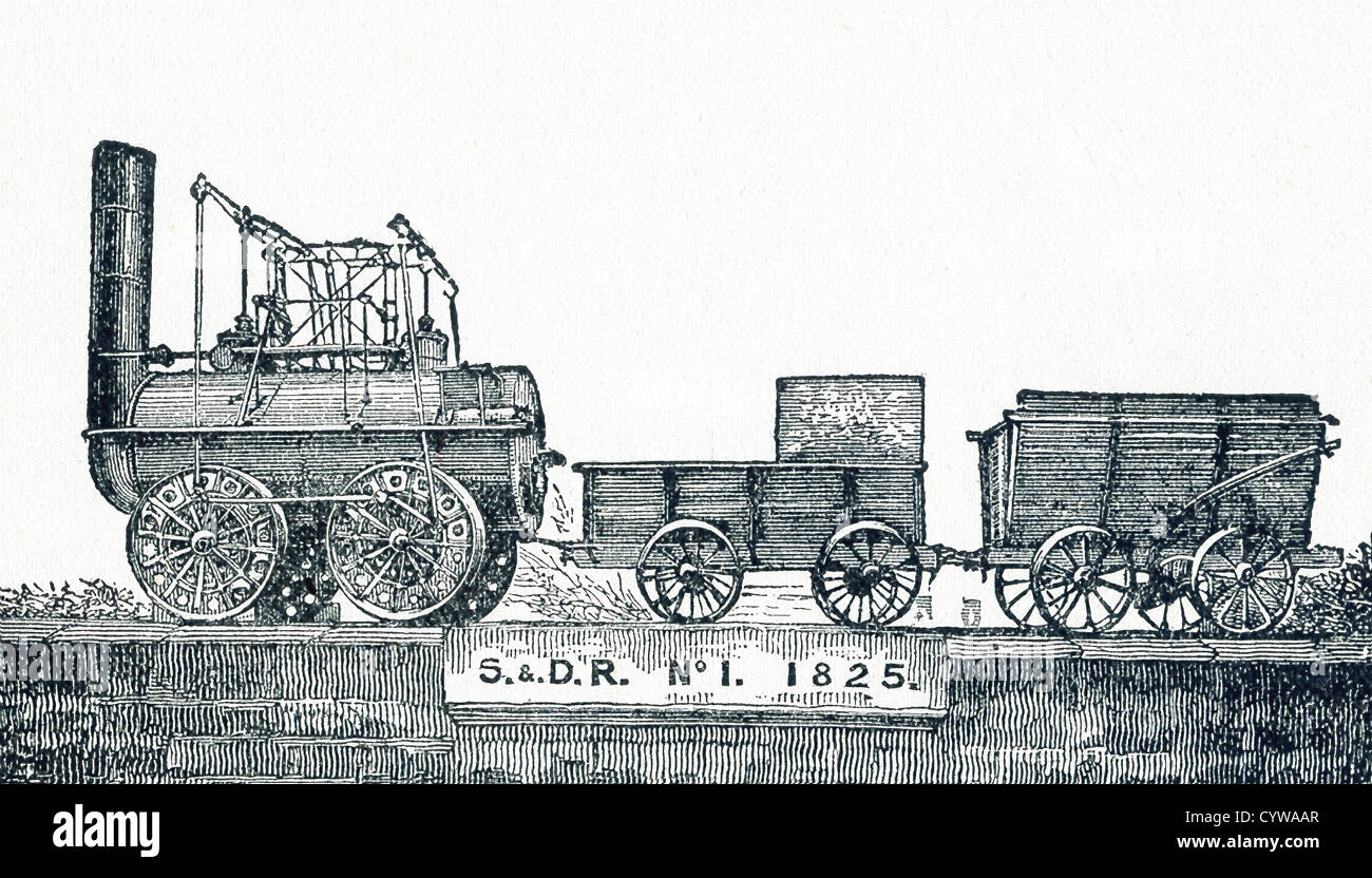 Locomotion No 1, originally named 'Active,' was an early British steam locomotive train, built by Robert - Stock Image