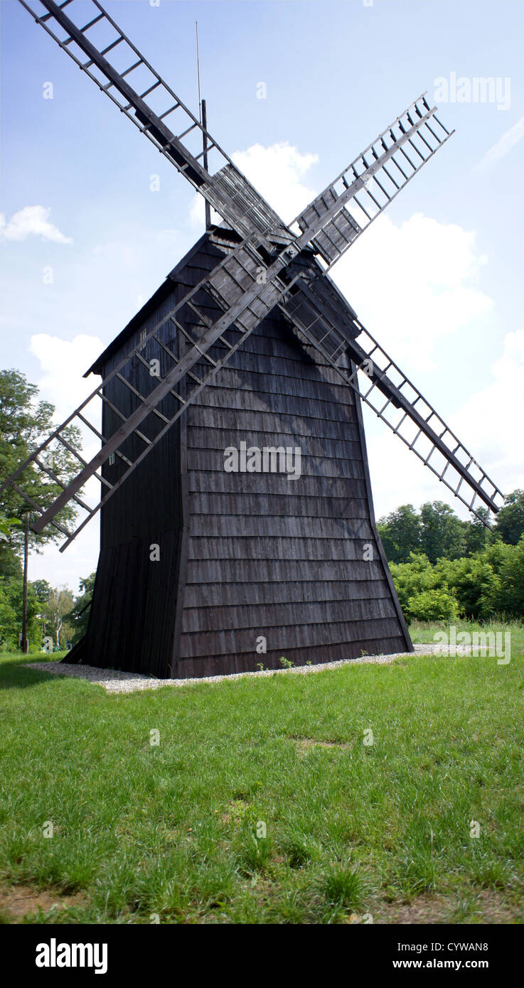 old, wooden windmill in Poland - Stock Image