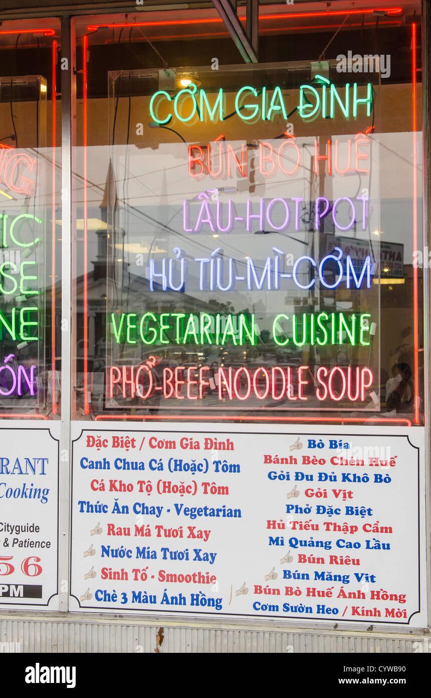 Neon Menu In Window Of Nh Hong Vietnamese Restaurant In
