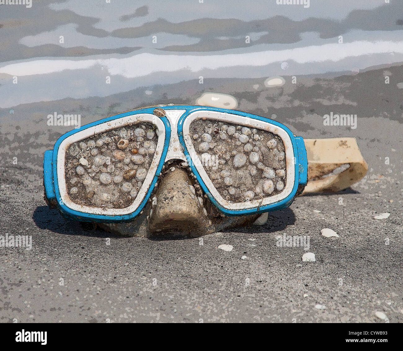 Plastic pollution - dive mask encrusted with barnacles washed ashore - Stock Image