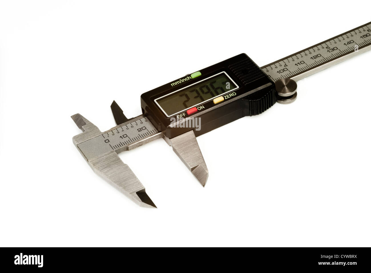 Isolated digital calipers on the white background - Stock Image