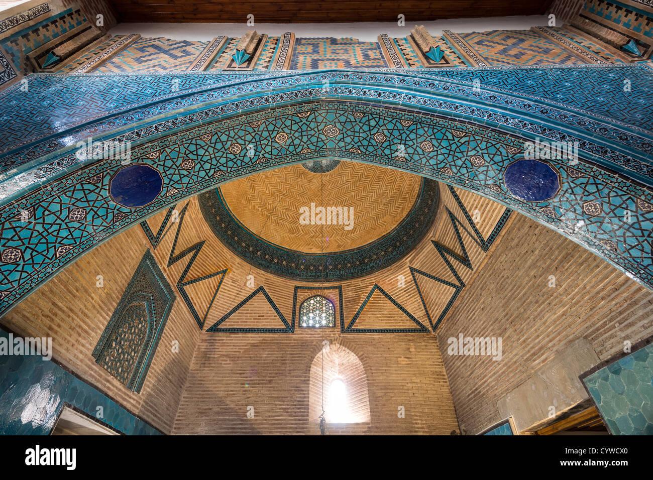 arch and dome of mausoleum, Sahib Ata complex, Konya, Turkey - Stock Image