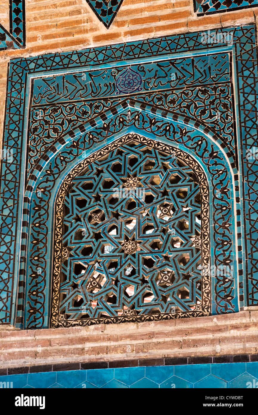 detail of tilework of window, mausoleum, Sahib Ata complex, Konya, Turkey - Stock Image