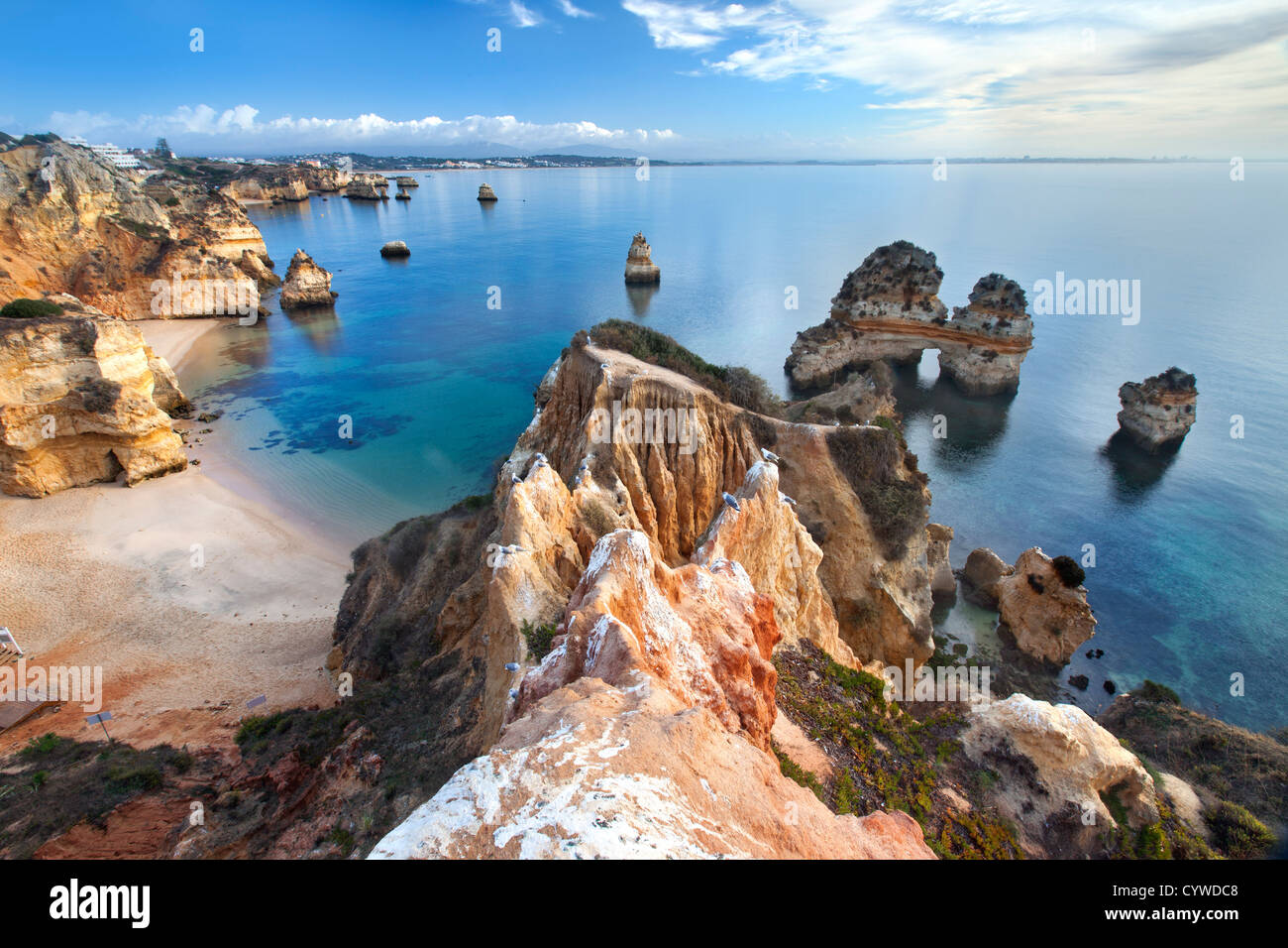 Coastline of the Algarve near Lagos, Portugal. - Stock Image