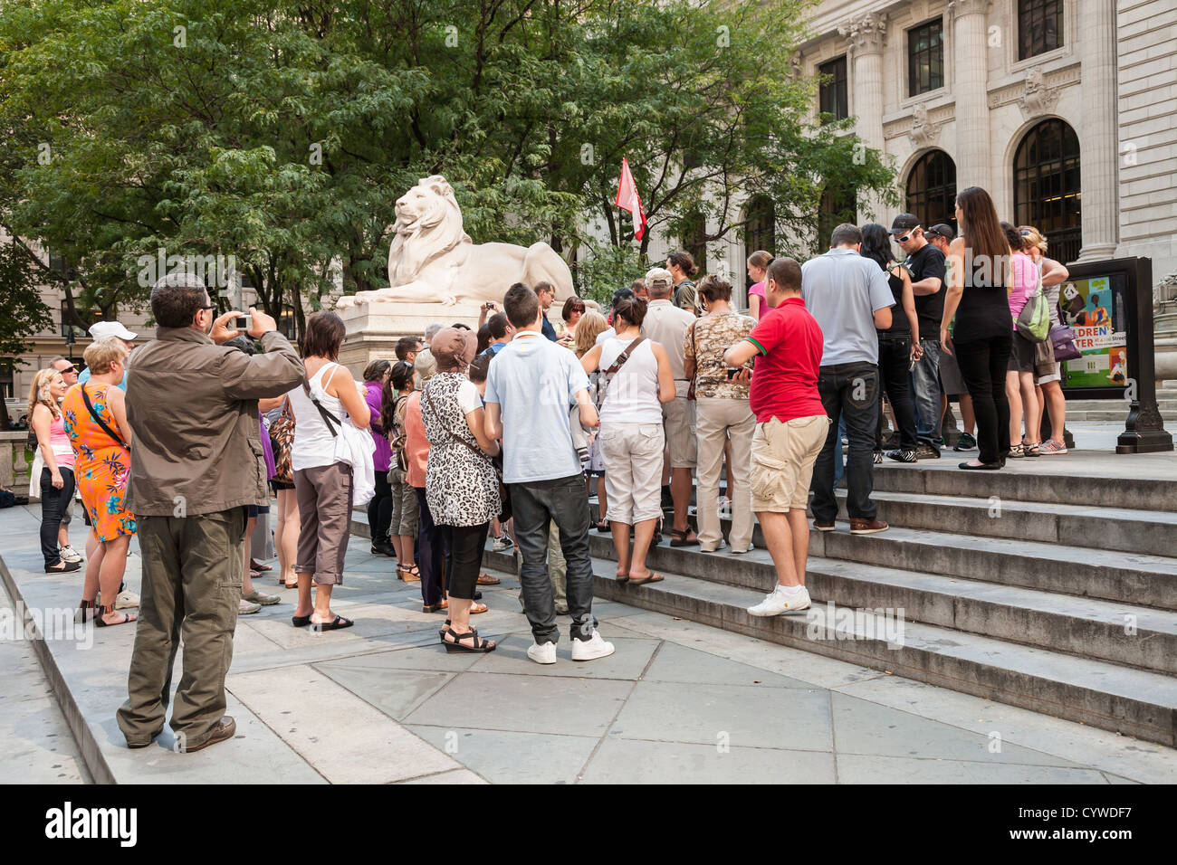 Tour Group on the Steps of the New York Public Library, NYC