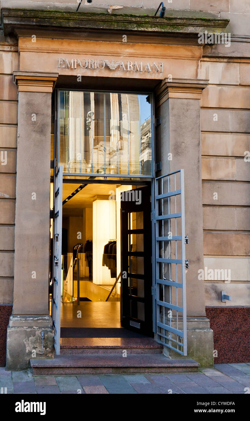 Main entrance to the Emporio Armani shop in central Glasgow, Scotland, UK - Stock Image