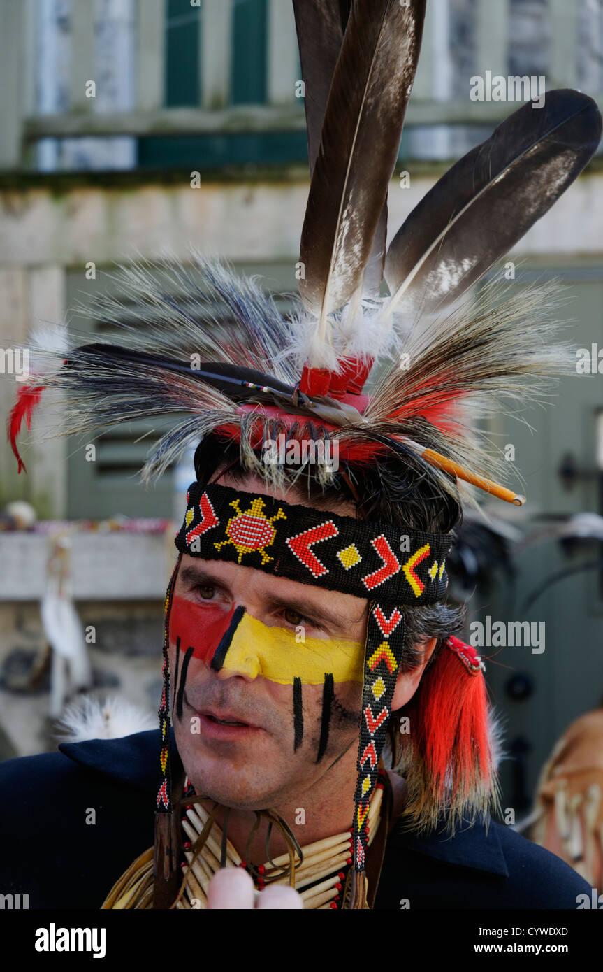 A Huron-Wendat amerindian man - Stock Image