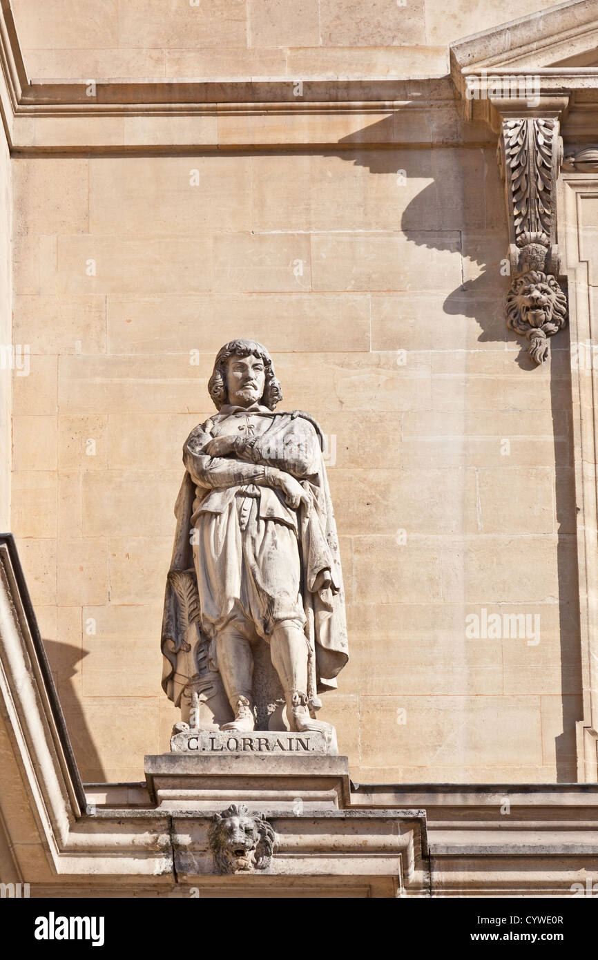 Statue of Claude Gellée de Lorrain (1600 - 1682),  French Baroque painter, draughtsman and engraver, Cour Napolean - Stock Image