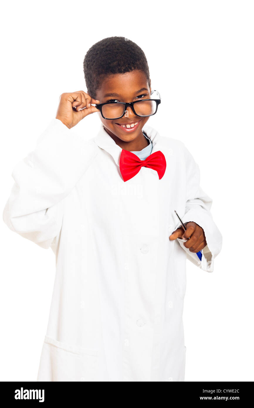 Cute happy clever scientist school boy, isolated on white background. - Stock Image