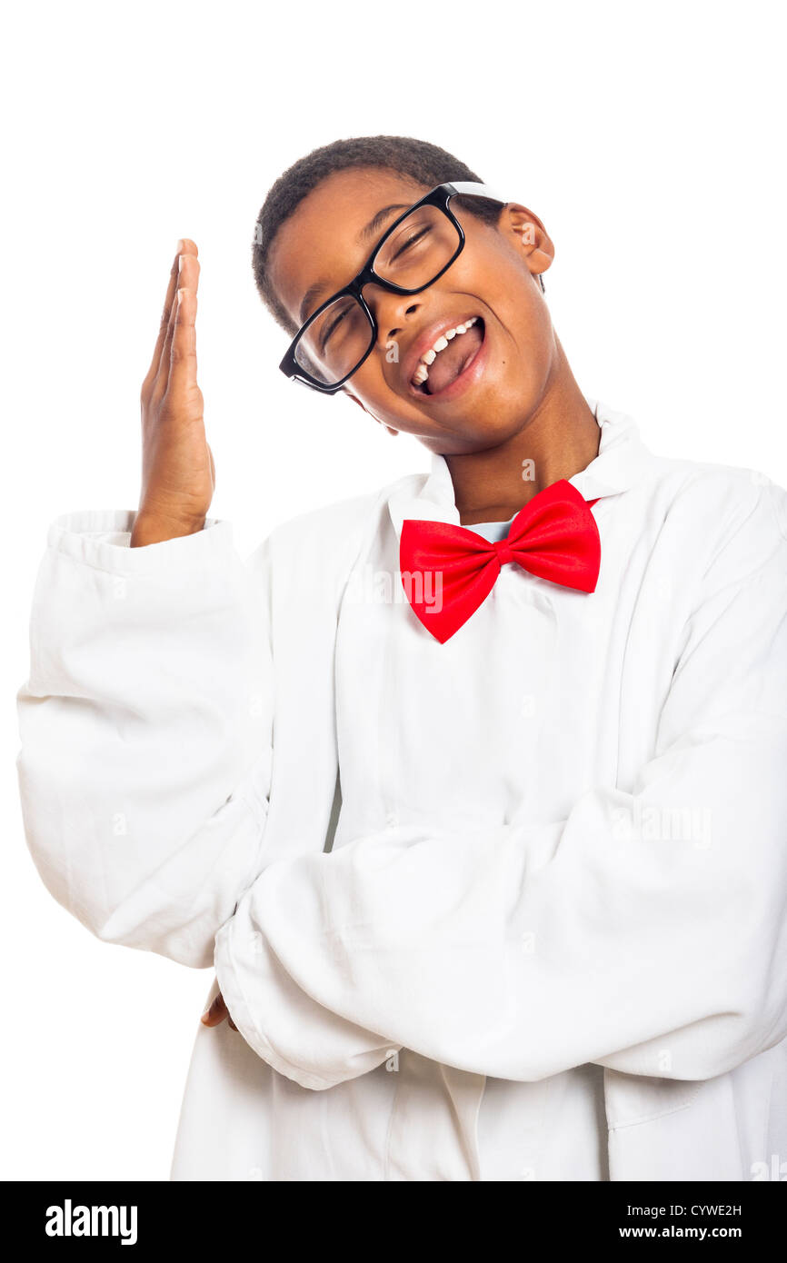 Funny clever scientist school boy gesturing, isolated on white background. - Stock Image