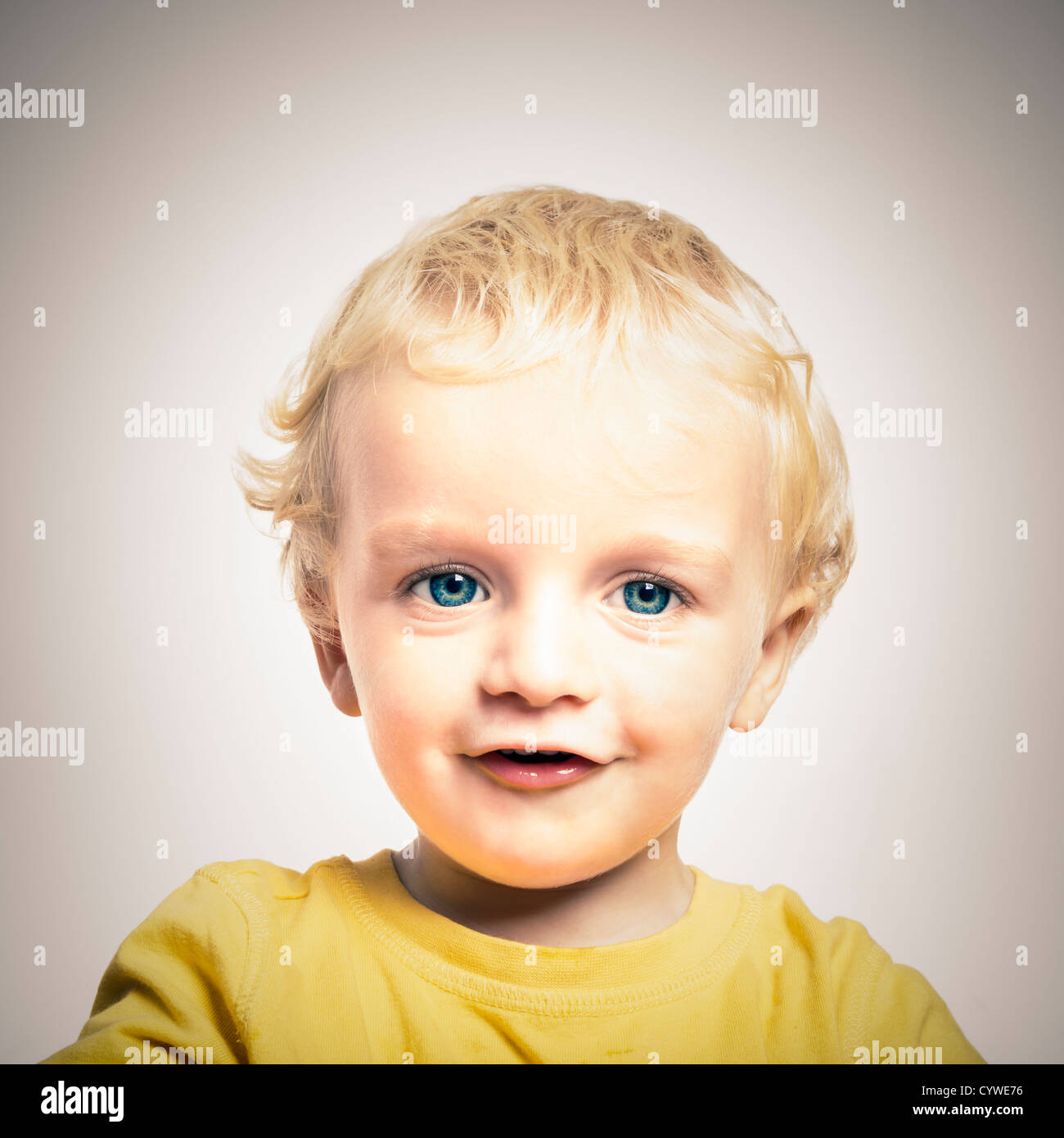 Close up of happy cute adorable child boy. - Stock Image