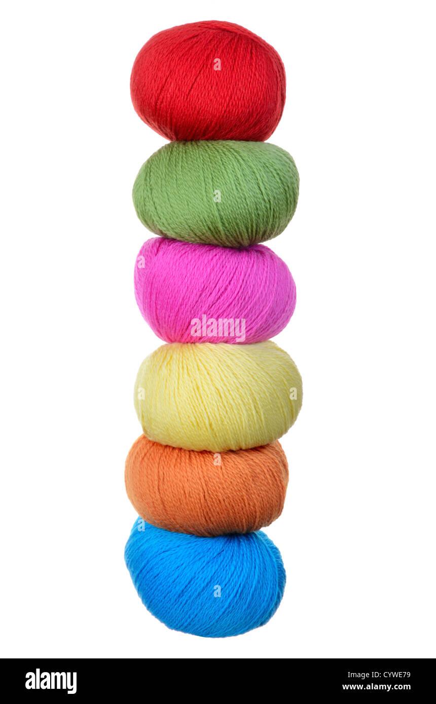 stack of balls of peruvian highland wool yarn - Stock Image