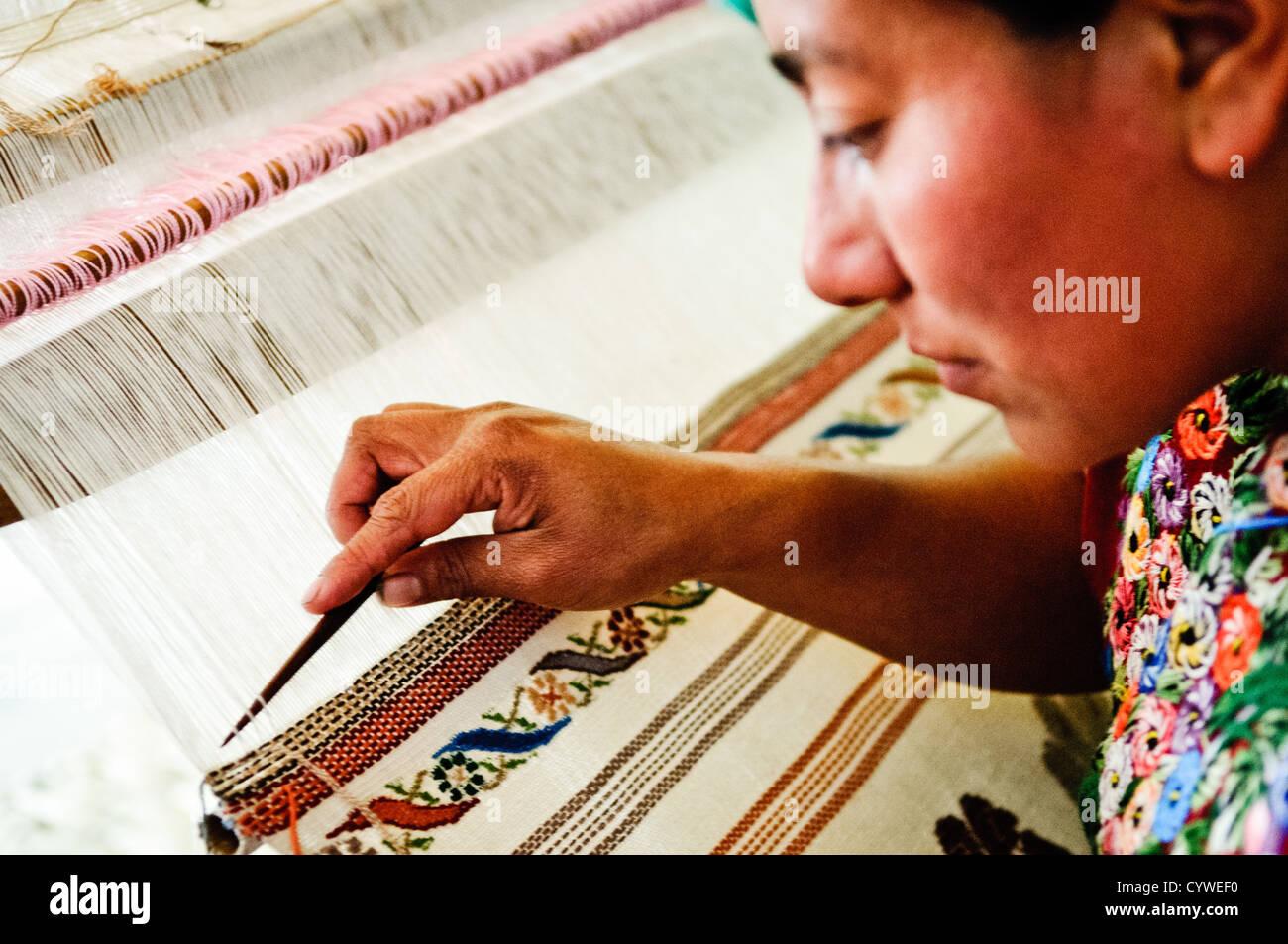at Casa del Tejido Antiguo, an indigenous textile museum and market in Antigua, Guatemala - Stock Image