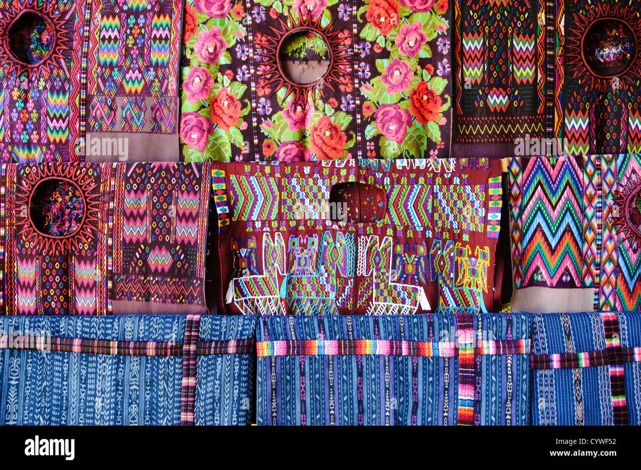 Traditional local woven textiles for sale at the market in Chichi. Chichicastenango is an indigenous Maya town in - Stock Image