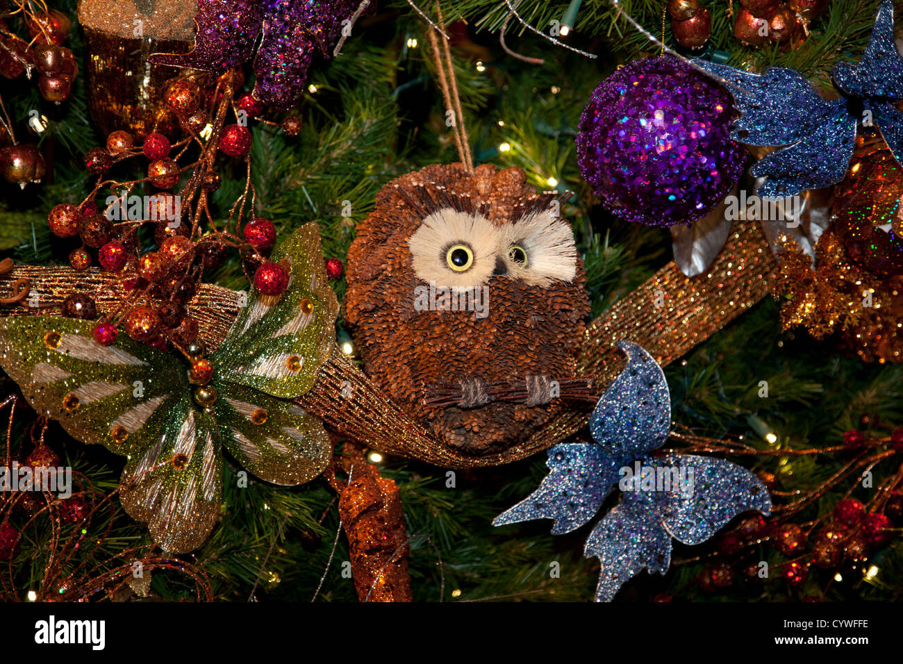 A pinecone owl on the Christmas tree at Lewis Ginter Botanical Stock ...