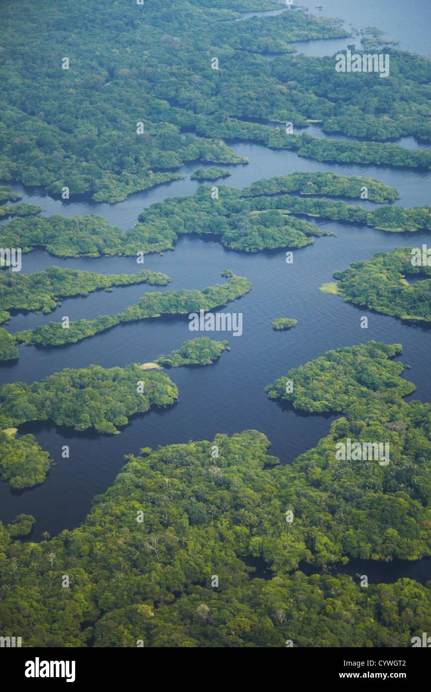 Aerial view of Amazon Rainforest and tributary of Rio Negro, Manaus, Amazonas, Brazil - Stock Image