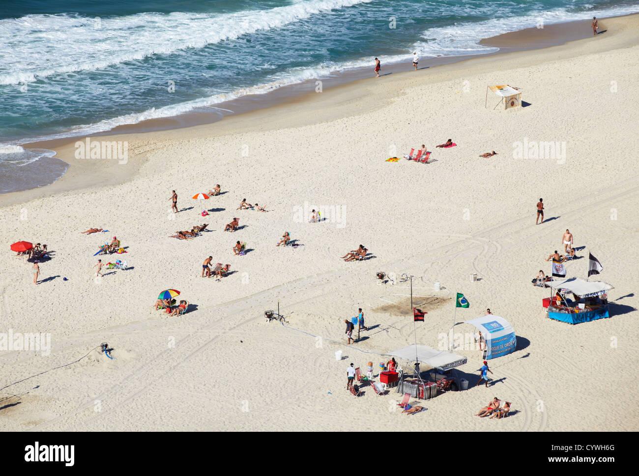 View of Copacabana beach, Copacabana, Rio de Janeiro, Brazil - Stock Image