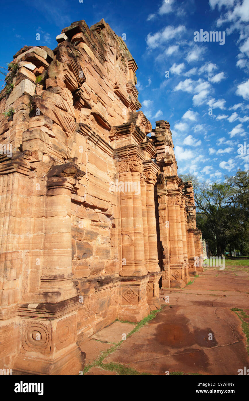 Ruins of mission at San Ignacio Mini (UNESCO World Heritage Site), Misiones, Argentina - Stock Image
