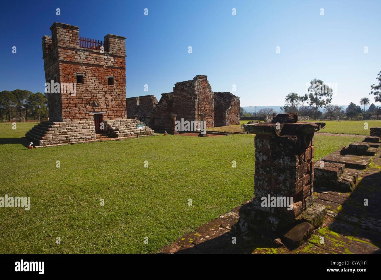 Ruins of Jesuit mission at Trinidad (UNESCO World Heritage Site), Parana Plateau, Paraguay - Stock Image