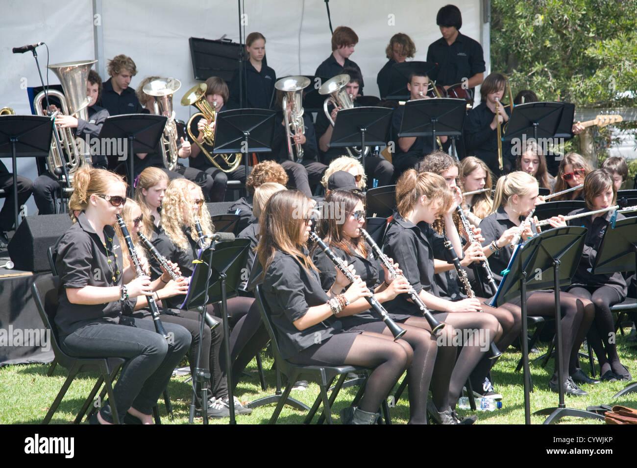 australian school children performing in the school music band,sydney,australia - Stock Image