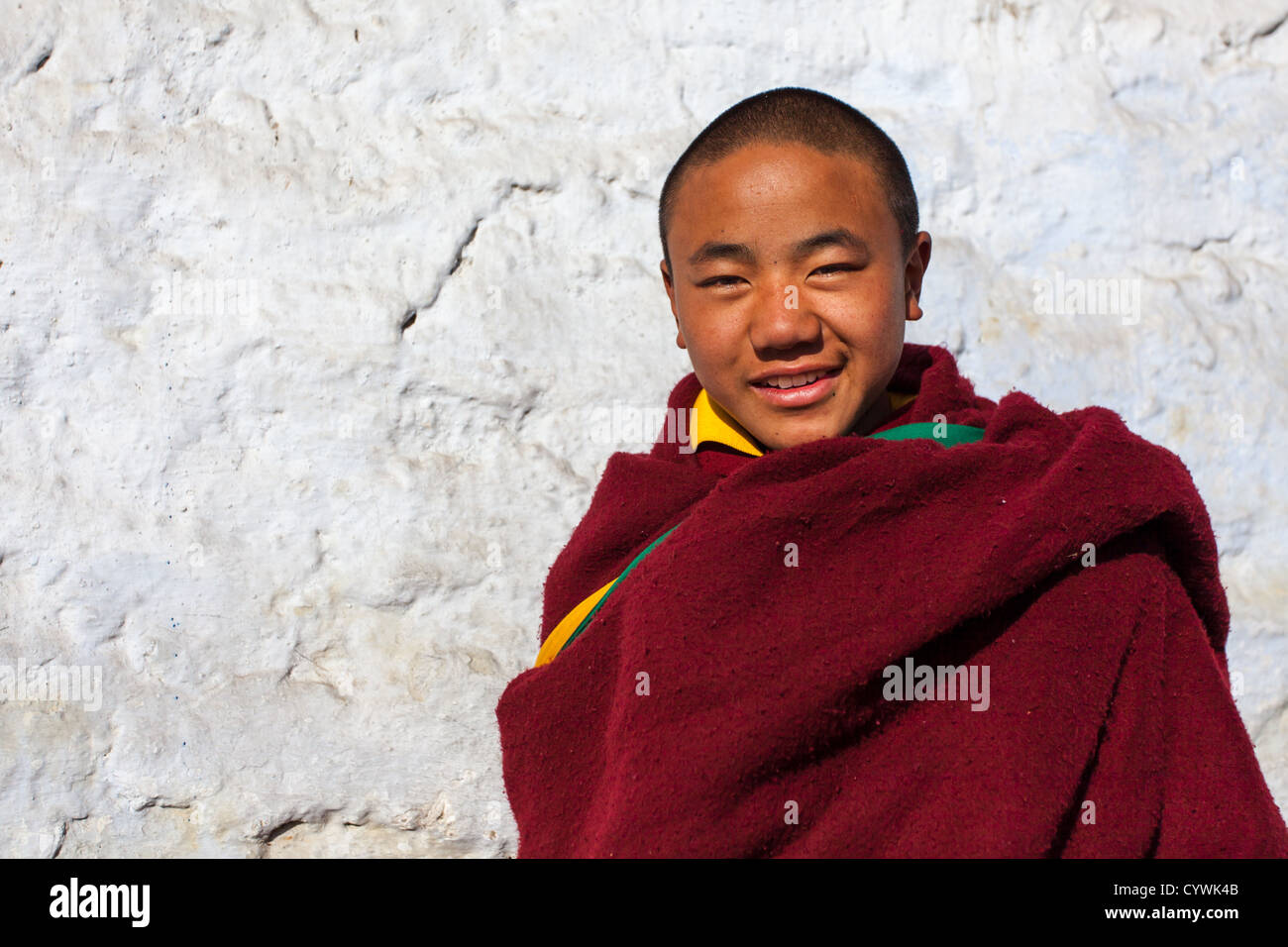 A young monk from Galden Namgey Lhatse Monastery, Arunachal Pradesh, India - Stock Image