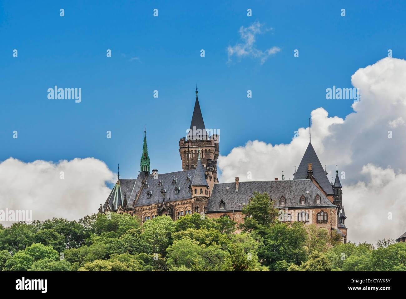 Wernigerode Castle, Harz, Saxony-Anhalt, Germany, Europe - Stock Image
