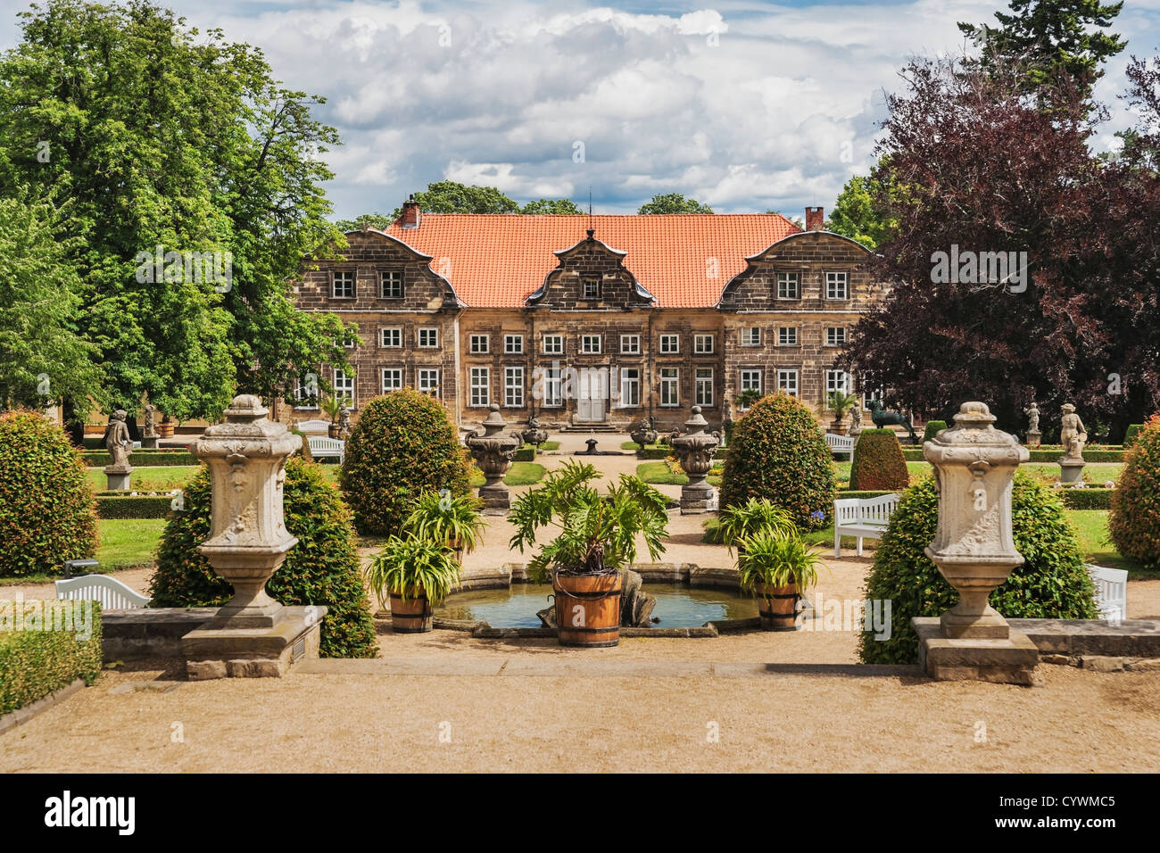 Small castle and park in the Baroque style, Blankenburg, Harz, Saxony-Anhalt, Germany, Europe - Stock Image