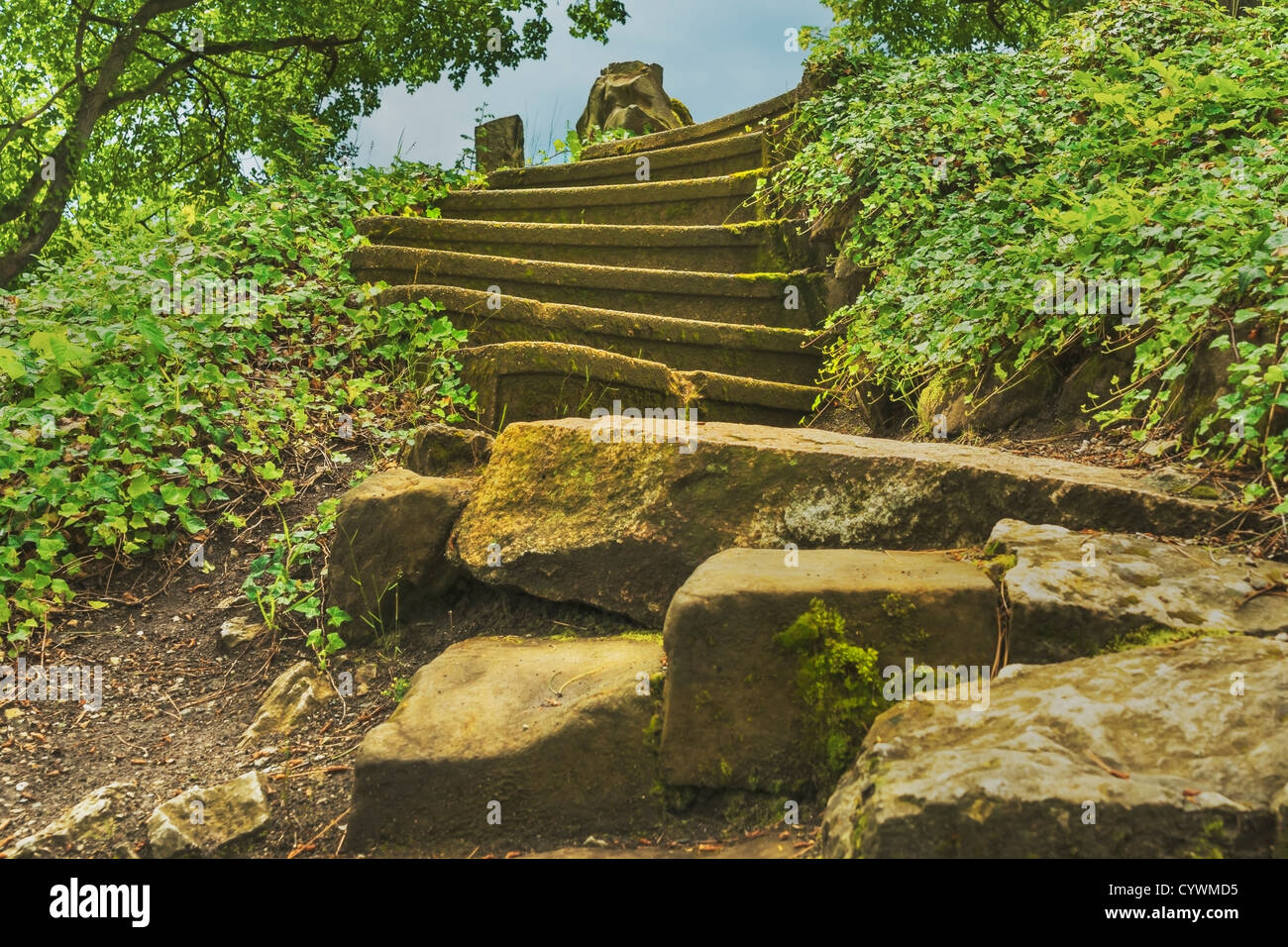 Detail photo of an old staircase, many steps - Stock Image