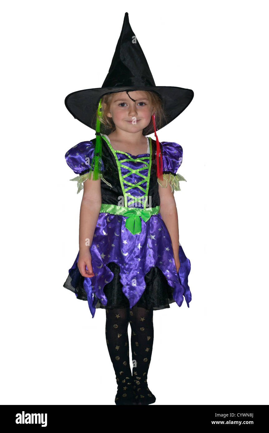 5 year old girl child dressed in a witches costume outfit halloween