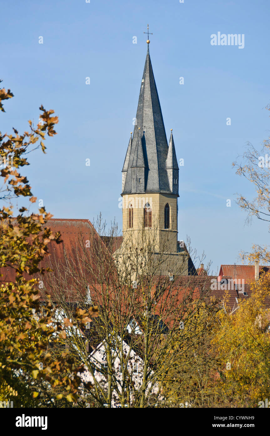Christian Church in autumnal South German landscape, autumn foliage trees – Eppingen, Baden-Wuerttemberg, South - Stock Image