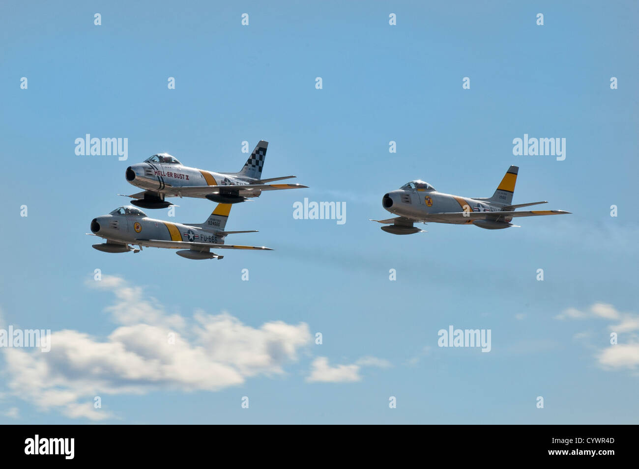 A three ship of F-86 Sabre's flies over the crowd during the annual Aviation Nation open house Nov. 10, 2012, - Stock Image