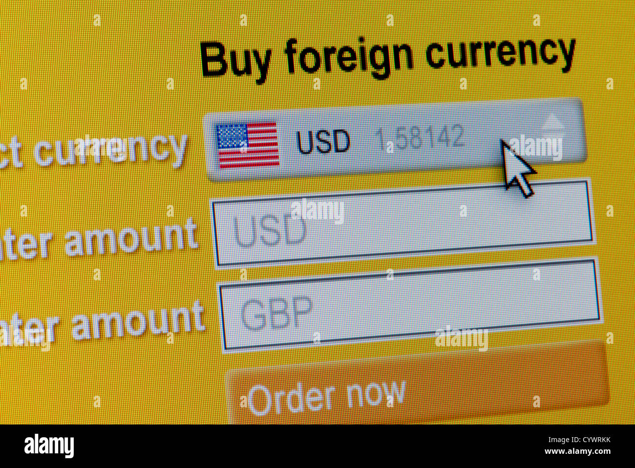 Close up of a fictional website inviting users to buy foreign currency, in this instance US Dollars. - Stock Image