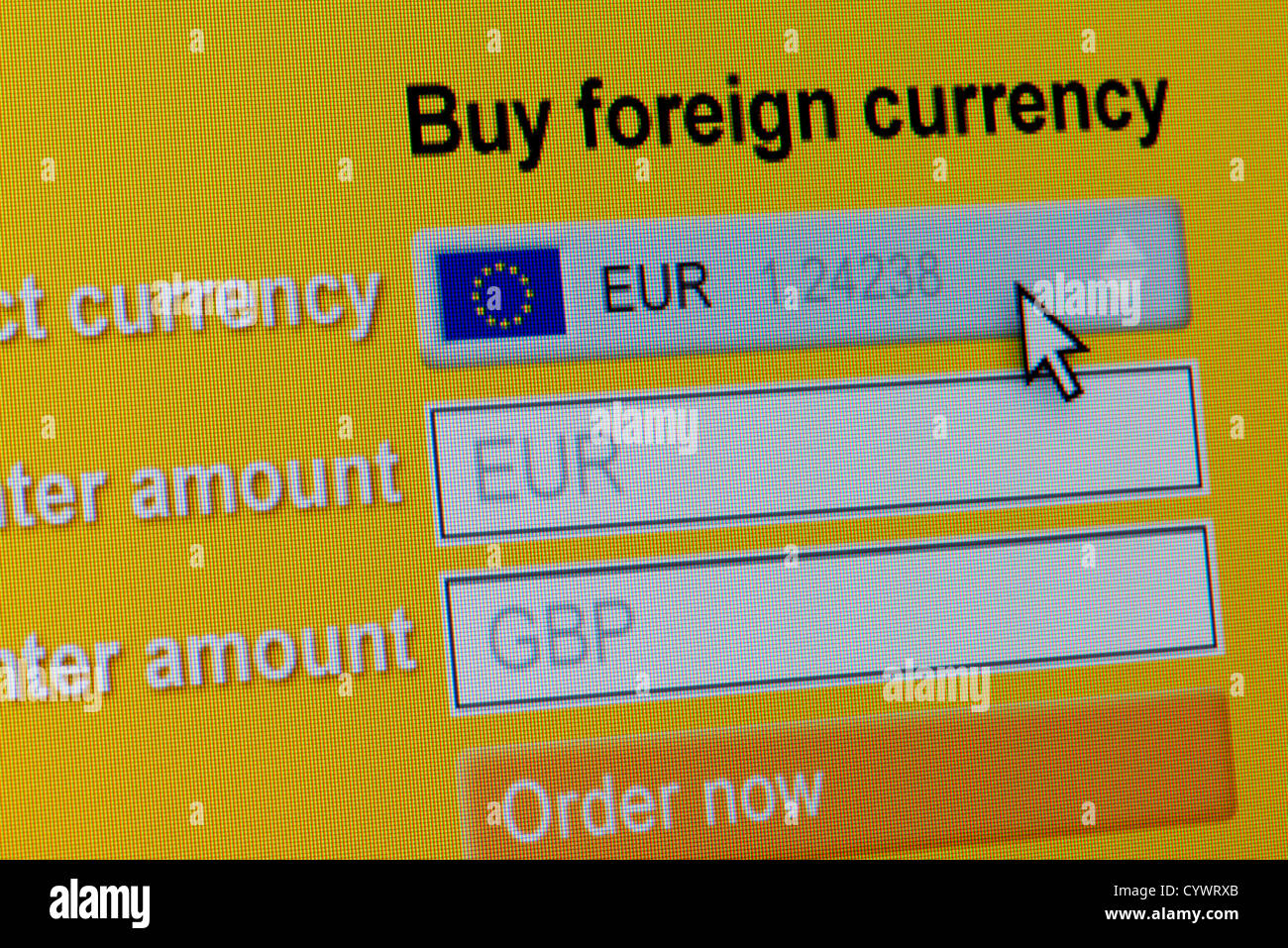 Close up of a fictional website inviting users to buy foreign currency, in this instance Euros. - Stock Image