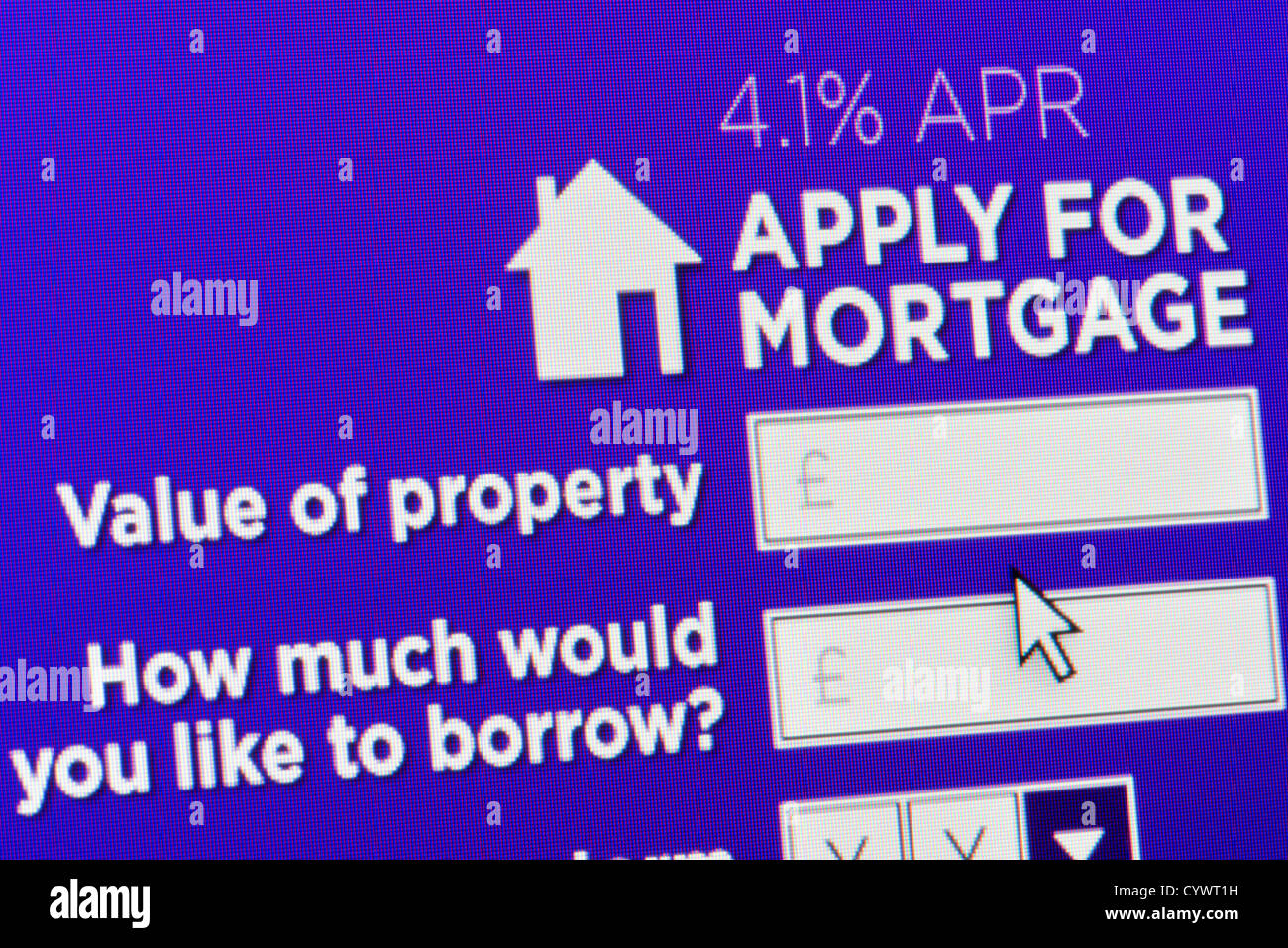 Close up of a fictional website inviting users to apply for a mortgage - Stock Image