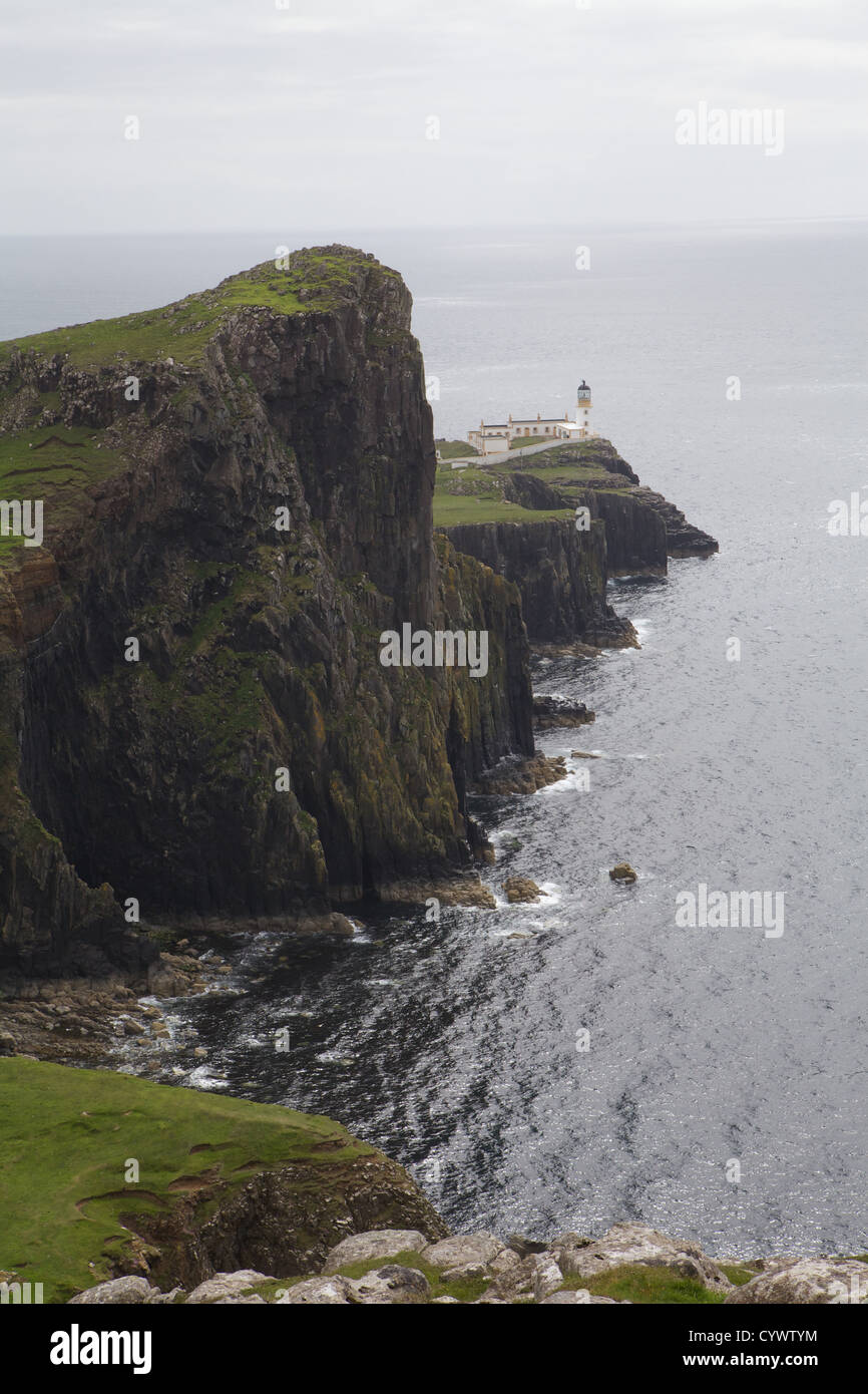 View of Neist Point and Lighthouse out to Moonen Bay, Isle of Skye. Stock Photo