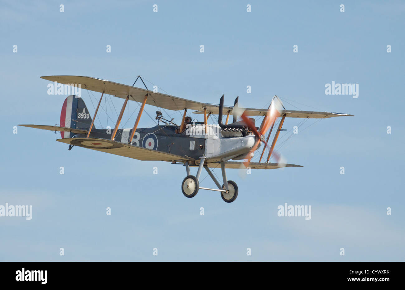 World War 1 Royal Aircraft Factory R.E.8 on a fly past. - Stock Image